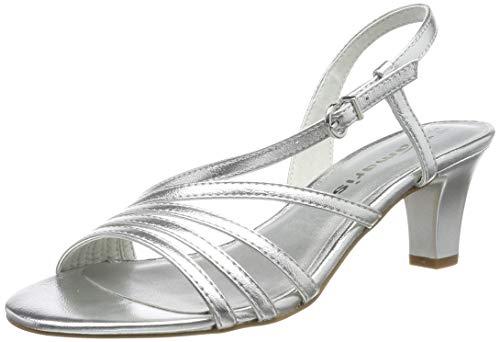 Tamaris Damen 1-1-28023-32 Peeptoe Sandalen, Silber (Silver 941), 37 EU