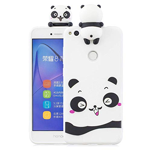 LAXIN Case Compatible with Huawei P8 Lite (2017) Soft TPU Silicone Cute Panda Flexible Cute Animal Protective Back Cover Girly Matte Cover Protective Ultra Thin Slim Bumper Shockproof for Girls