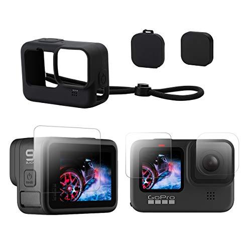 Provo Kit Accessori per GoPro HERO9 Black Custodia Protettiva in Silicone con Cordino + 3pz Proteggi Obiettivo in Vetro Temperato + 2pz di Protezione Tappo Copri Obiettivo per GoPro 9 Black