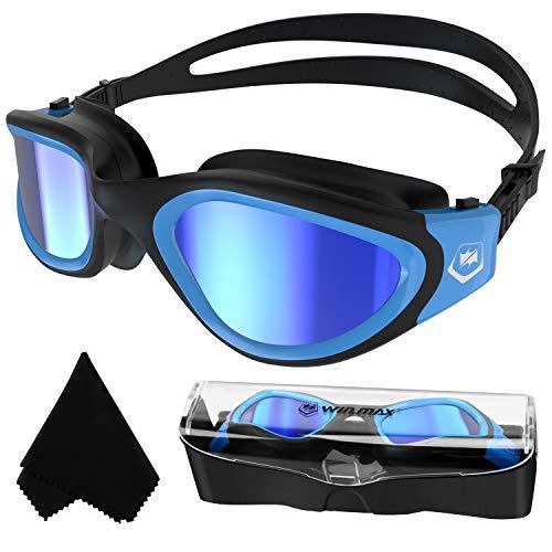 Polarisiert Schwimmbrille,Anit-Beschlag-UV-Schutz Wasserdicht klare Sicht einfach einzustellen mit weichen Nasenstegen für Herren Damen Erwachsene