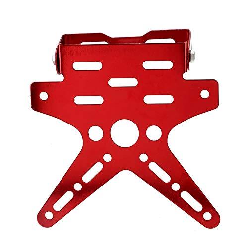 WENJING Kfz-Kennzeichen Dekoration Aluminiumlegierung Schwalben-Schwanz-Bunte Universal-Motorrad Kennzeichenhalter (Color : Red)