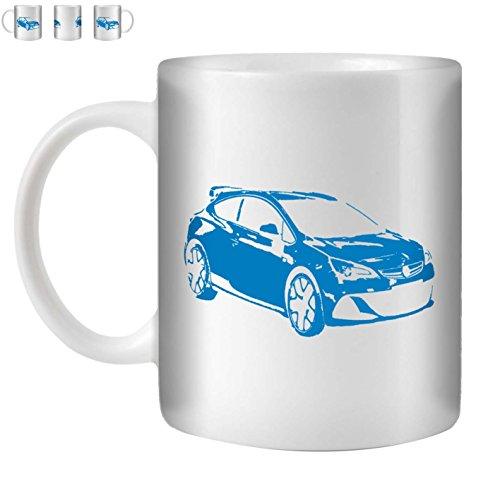 Stuff4 Tee/Kaffee Becher 350ml/Blau/Opel Astra OPC J/Weißkeramik/ST10