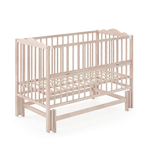 VITALISPA Babybett KONNI 120x60 Babywiege Bett Beistellbett Wiegefunktion (Natur lackiert)