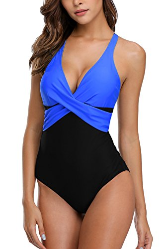 Vegatos One Piece Swimsuit Women Slimming Padded Monokini Swimwear Black/Royal L