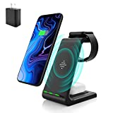 Wireless Charging Stand, Muleug 3 in 1 Wireless Charger Charging Station Dock for Apple Watch SE 6 5 4 3 2, Airpods Pro, iPhone 12/11/11 Pro/X/Xr/Xs/8 Plus, Qi-Certified Phones (with QC3.0 Adapter)
