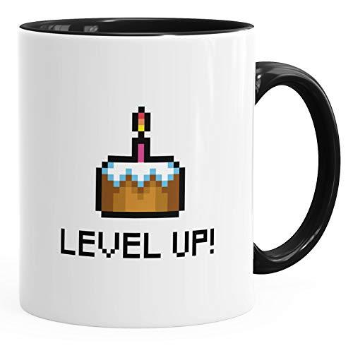 Geschenk-Tasse Geburtstag Level Up Pixel-Torte Retro Gamer Pixelgrafik Arcade MoonWorks® schwarz unisize