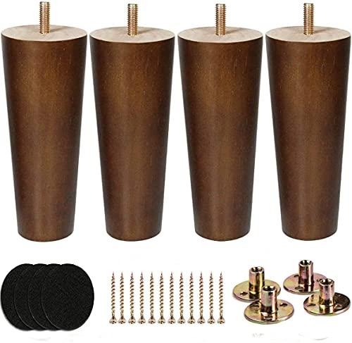 Patas de sofá de madera de nogal moderno con placas de fijación de patas y protector de fieltro para sofá, armario, otomana, mesa de café, banco, silla (15 cm, marrón y negro)