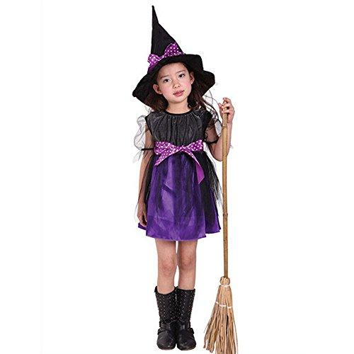 UJUNAOR Kinder Mädchen Halloween Kleidung Kostüm Kleid Party Kleider und Hut Outfit Jungen Baby Ballkleid(Lila,CN 110)