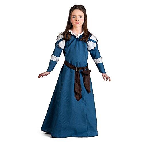 Elbenwald Disfraz Medieval de Dama para niñas Color Azul - 3/5 Jahre