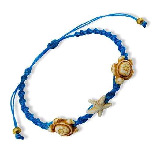 Bracelet or Anklet Sea white Turtle-Star in Blue Bracelet or Anklet Turtle Hemp Bracelet Hawaiian