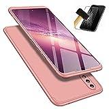 Custodia Huawei Honor 8X Case+ Pellicola Vetro Temperato Lanpangzi TPU Silicone 3 in 1 Combinazione Anti Graffio Protettivo Bumper Caso - D'oro Rosa