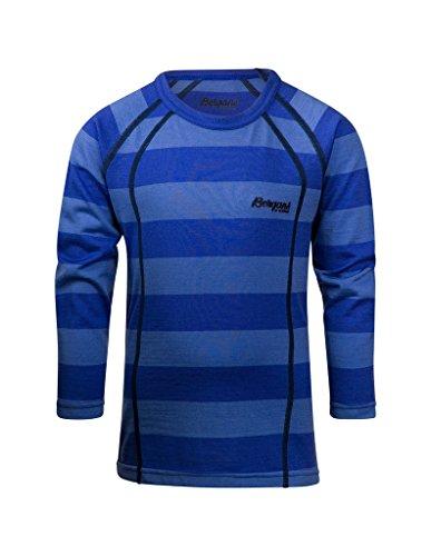 Bergans Fjellrapp Tech Tee LS Boys sky blue striped / bleu Taille 92