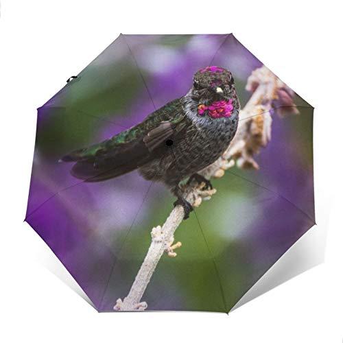 DOWNN Paraguas automático triple plegable 3D con impresión exterior de pájaro pico en rama, protector solar impermeable, resistente al viento, duradero, plegable, para hombre y mujer al aire libre