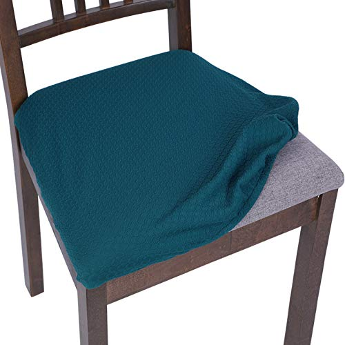 SearchI Stretch Spandex Jacquard Dining Room Chair Seat Covers, Removable Water Repellent Chair Seat Cushion Slipcovers for Dining Room, Kitchen, Office, Anti-Dust & Machine Washable - Set of 4, Teal