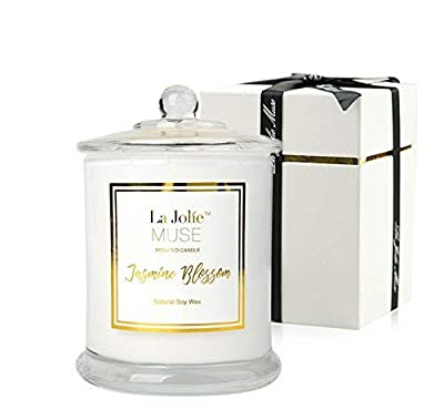 Jasmine Scented Candle, Gift for Women, Natural Soy Wax, 60 Hours Burn Fine Home Fragrance, Glass Jar Candles