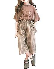 [ウェアビー]セットアップ 上下 Tシャツ サロペット風 ワイドパンツ サスペンダー付 子供 ガールズ 110~160