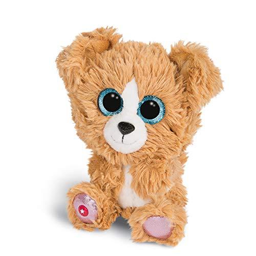 NICI 46317 Glubschis Kuscheltier Hund Lollidog 15cm, Flauschiges Plüschtier mit großen Glitzeraugen, süßes Stofftier für Kinder und Kuscheltierliebhaber, braun/weiß