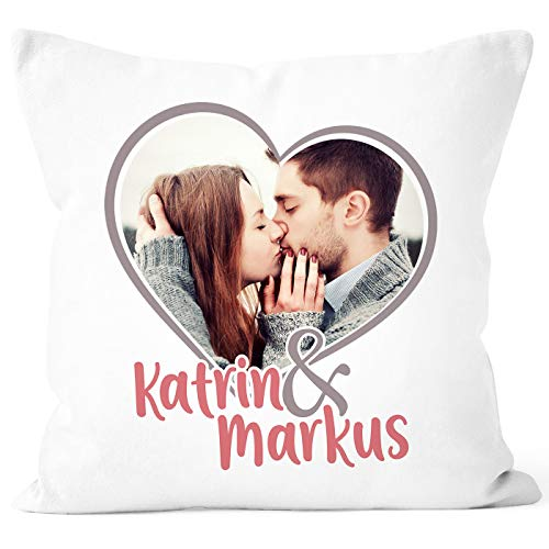 SpecialMe® Kissen-Bezug mit Foto und Namen Bedrucken Lassen, Premium Fotokissen Baumwolle weiß Unisize