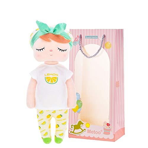 Metoo Fruit Peluche Rag Doll Doll Farciti Bambole morbide e sicure Bambole Coccole Regali per Bambina - Serie di Frutta Sacchetto Regalo - Limone