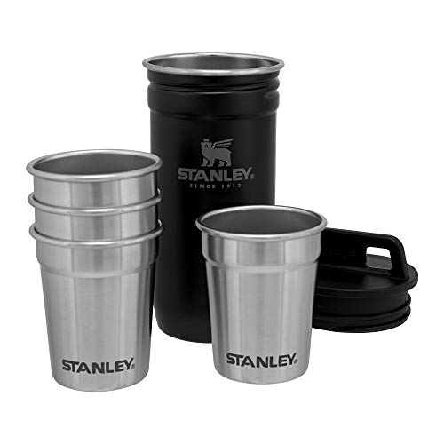 Stanley Adventure Nesting Shot Glass Set, 4 Stainless Steel Shot Glasses with Rugged Metal Travel Carry Case, Camping Gifts, Matte Black, 2oz