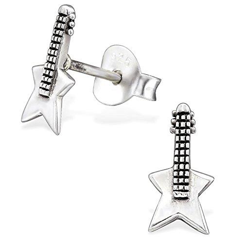 EYS JEWELRY Ohrstecker Damen Gitarre Musik 925 Sterling Silber oxidiert Damen-Ohrringe
