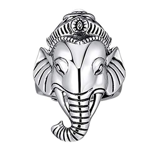 Helen de Lete Anillo ajustable de plata de ley S925 con diseño retro Elefant Goodluck