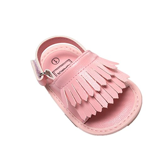 Chaussures de bébé Auxma Baby Girls Toddler Summer Tassel Bind Chaussures Soft-Soled Princesse Firstwalker Chaussures Sandales (3-6 M, Rose)