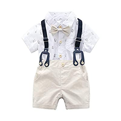 Baby Boys Gentleman Outfits Suits, Infant Short Sleeve Shirt+Bib Pants+Bow Tie Overalls Clothes Set White by