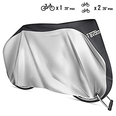 Favoto Bike Cover Waterproof Outdoor Bicycle Cover Thicken Oxford 29 Inch Windproof Snow Rustproof with Lock Hole Storage Bag for Mountain Road Bike City Bike Beach Cruiser Bike (Silver)