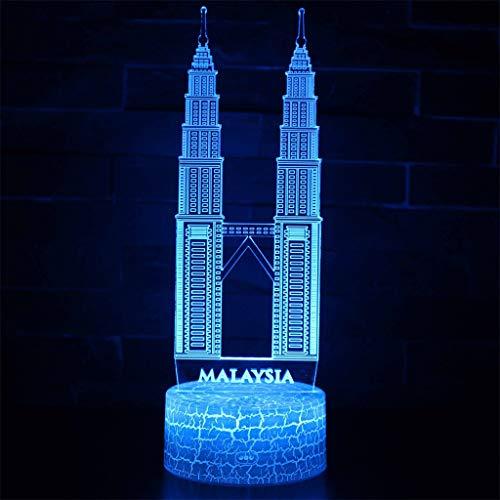 Veilleuse 3D simple lumière/LED, lumière de sculpture art tactile 7 couleurs, panneau acrylique, base en ABS, câble USB, chambre à coucher, bar, décor de bureau