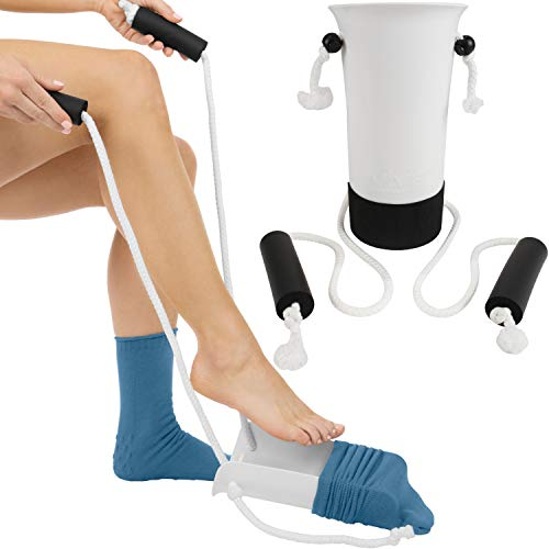 Vive Sock Aid - Easy On and Off Stocking Slider - Donner Pulling Assist Device - Compression Sock Helper Aide Tool - Puller for Elderly, Senior, Pregnant, Diabetics - Pull Up Assistance Help