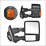 Perfit Zone Towing Mirrors Replacement Fit for 1999-2007 F-250 F-350 F-450 F-550 SUPER DUTY,POWER HEATED,W/AMBER SIGNAL,BLACK (PAIR SET)