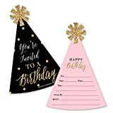 Big Dot of Happiness Chic Happy Birthday - Pink, Black and Gold - Shaped Fill-In Invitations - Birthday Party Invitation Cards with Envelopes - Set of 12