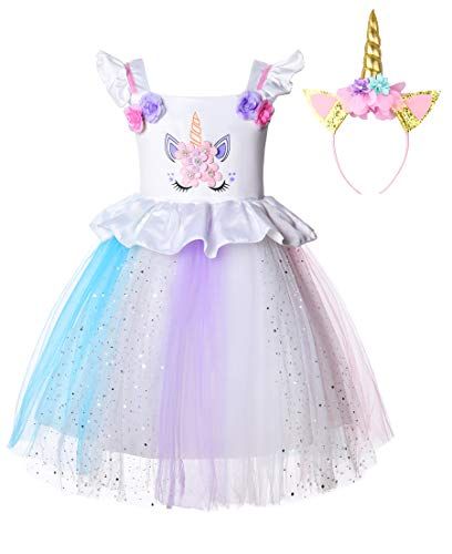 JerrisApparel Disfraz Unicornio Niña Cumpleaños Princesa Boda Fiesta Vestido (4-5 años, 3)