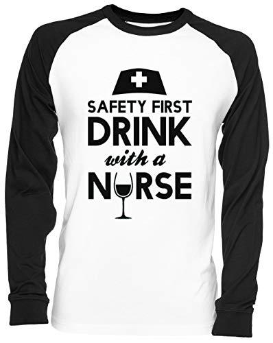 Safety First Drink with A Nurse Blance Camiseta De Béisbol Unisex Tamaño S White Baseball tee Tshirt Unisex Size S