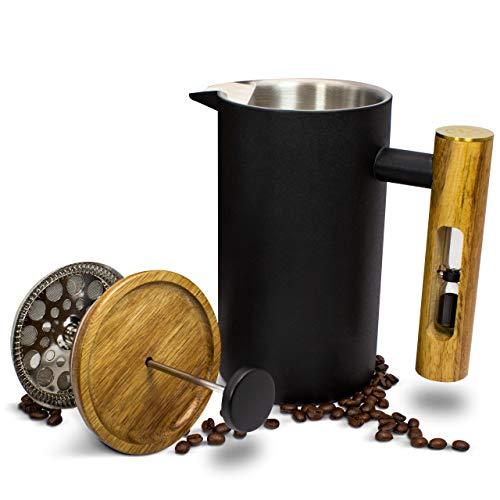 MoreFlavor French Press aus Edelstahl und Acacia Mangium Holz - der perfekte Kaffeebereiter für Ihr Zuhause - lecker, schnell und einfach - 1 L Fassungsvermögen für besonders großen Genuss