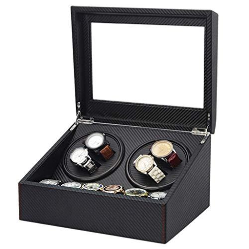DFJU Enrollador de Reloj Enrollador de Reloj Bobinado automatico Ultra silencioso 4 + 6 Caja de Reloj de Gama Alta Silla Agitador Rotacion Caja de Motor de Fibra Negra Reloj