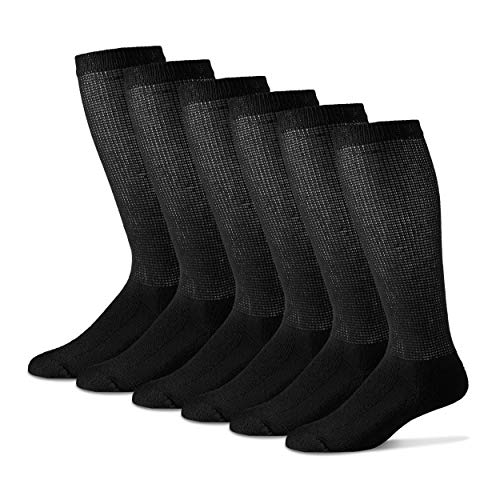 Diabetic Over The Calf Socks for Men - 12 Pack - Black - Size 10-13