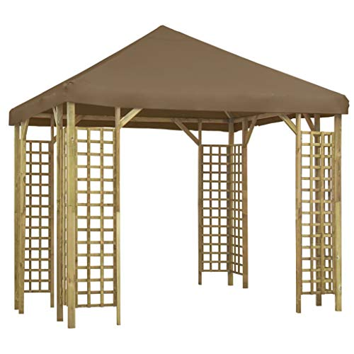 Festnight Garden Gazebo Marquee Awning Canopy Patio Sunshade Shelter, for Gatherings, Weddings, BBQ Parties, Camping 3x3 m Taupe