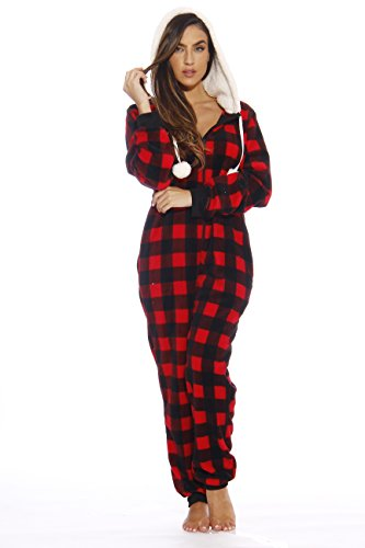 Just Love Adult Onesie/Pajamas,Medium,Red Buffalo Plaid