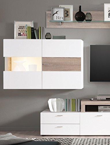 Wohnwand Monty 351x207x47 cm weiß Hochglanz Eiche Trüffel Schrankwand Wohnzimmerschrank Vitrine Wandschrank Wandboard TV-Board LED-Beleuchtung - 2