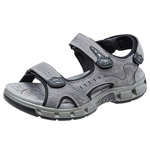 CAMEL CROWN Herren Outdoor Sports Sandalen Waterproof Wandersandalen Strand Ledersandalen Trekking Sommer Männer Sandalen Schuhe Klettverschluss,Grau,42 EU