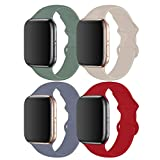 RUOQINI Lot de 4 bracelets de rechange en silicone souple pour Apple Watch Series 5/4/3/2/1 Taille S/M – Lavande gay/vert pin/pierre/rouge