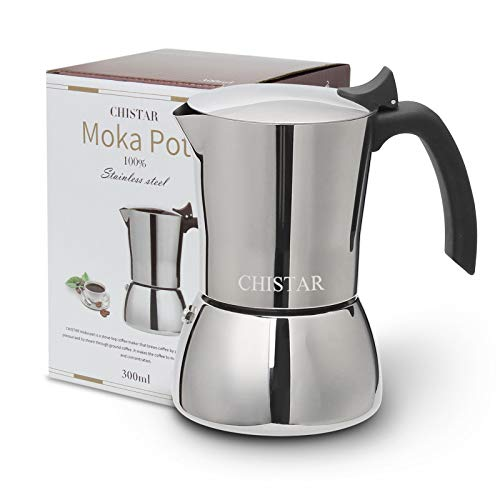 CHISTAR 300ml Cafetière Italienne Induction INOX Moka...