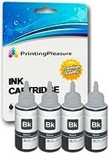 Printing Pleasure T6641 Pack de 4 Botellas de Tinta para Epson EcoTank ET-2500 ET-2550 ET-2600 ET-4500 ET-4550 ET-14000 L120 L200 L210 L310L350L355L365L555L1300 - Negro, Alta Capacidad (70ml)