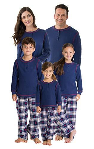 PajamaGram Family Christmas Pajamas Set - Plaid Matching Pajamas, Blue, Mens, MD