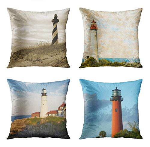 ArtSocket Set of 4 Throw Pillow Covers North Cape Hatteras Lighthouse Carolina Outer Banks Shore Beach Nautical Maine Portland Decorative Pillow Cases Home Decor Square 18x18 Inches Pillowcases