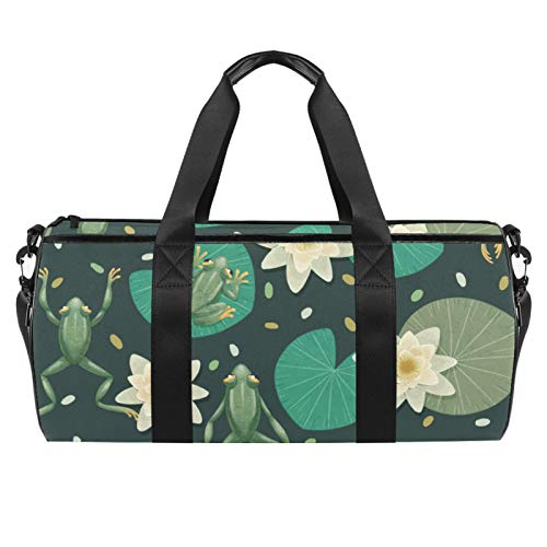 LAZEN Hombro Handy Sports Gym Bags Travel Duffle Totes Bag para hombres y mujeres Hermosas ranas góticas y lirios de agua