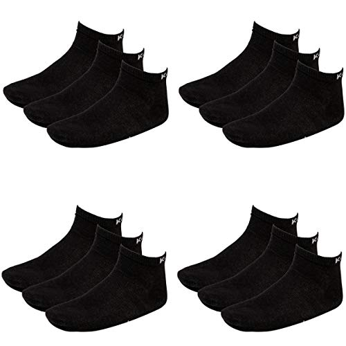 Kappa 12 Paar Sneaker Socken Gr. 35-46 Unisex Kurzsocke, Socken & Strümpfe:43-46, Farbe:Black