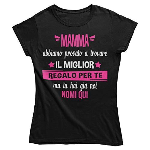 Vulfire Maglietta Personalizzabile Donna Il miglior Regalo per Mamma. Idea Regalo Mamma, T Shirt Compleanno Natale Festa della Mamma. Madre e Figli (Nero, L)